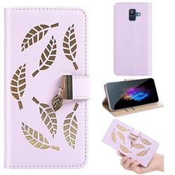 Hollow Leaves Phone Wallet Case for Samsung Galaxy A6 (2018) - Purple