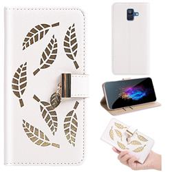 Hollow Leaves Phone Wallet Case for Samsung Galaxy A6 (2018) - Creamy White