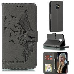 Intricate Embossing Lychee Feather Bird Leather Wallet Case for Samsung Galaxy A6 (2018) - Gray