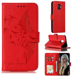 Intricate Embossing Lychee Feather Bird Leather Wallet Case for Samsung Galaxy A6 (2018) - Red