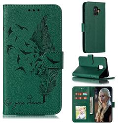 Intricate Embossing Lychee Feather Bird Leather Wallet Case for Samsung Galaxy A6 (2018) - Green