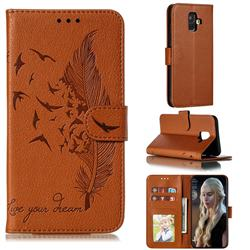 Intricate Embossing Lychee Feather Bird Leather Wallet Case for Samsung Galaxy A6 (2018) - Brown