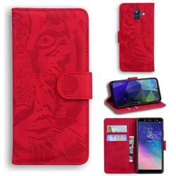Intricate Embossing Tiger Face Leather Wallet Case for Samsung Galaxy A6 (2018) - Red