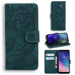 Intricate Embossing Tiger Face Leather Wallet Case for Samsung Galaxy A6 (2018) - Green