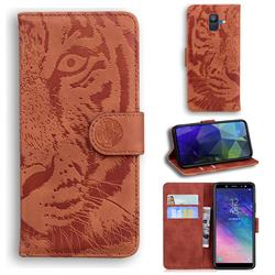 Intricate Embossing Tiger Face Leather Wallet Case for Samsung Galaxy A6 (2018) - Brown