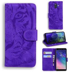 Intricate Embossing Tiger Face Leather Wallet Case for Samsung Galaxy A6 (2018) - Purple