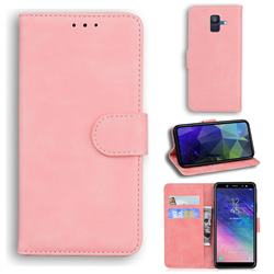 Retro Classic Skin Feel Leather Wallet Phone Case for Samsung Galaxy A6 (2018) - Pink