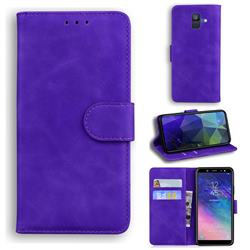 Retro Classic Skin Feel Leather Wallet Phone Case for Samsung Galaxy A6 (2018) - Purple