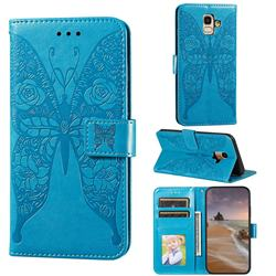 Intricate Embossing Rose Flower Butterfly Leather Wallet Case for Samsung Galaxy A6 (2018) - Blue