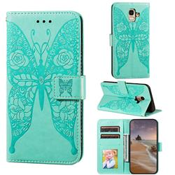 Intricate Embossing Rose Flower Butterfly Leather Wallet Case for Samsung Galaxy A6 (2018) - Green