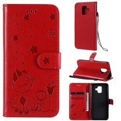 Embossing Bee and Cat Leather Wallet Case for Samsung Galaxy A6 (2018) - Red