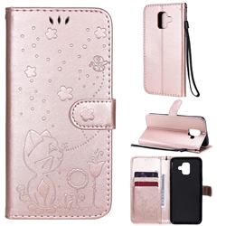 Embossing Bee and Cat Leather Wallet Case for Samsung Galaxy A6 (2018) - Rose Gold
