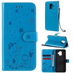 Embossing Bee and Cat Leather Wallet Case for Samsung Galaxy A6 (2018) - Blue