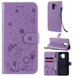 Embossing Bee and Cat Leather Wallet Case for Samsung Galaxy A6 (2018) - Purple