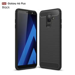 Luxury Carbon Fiber Brushed Wire Drawing Silicone TPU Back Cover for Samsung Galaxy A6+ (2018) - Black