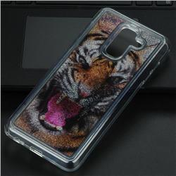 Tiger Glassy Glitter Quicksand Dynamic Liquid Soft Phone Case for Samsung Galaxy A6 Plus (2018)