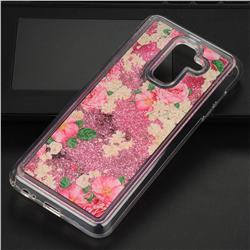 Rose Flower Glassy Glitter Quicksand Dynamic Liquid Soft Phone Case for Samsung Galaxy A6 Plus (2018)