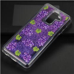 Purple Grape Glassy Glitter Quicksand Dynamic Liquid Soft Phone Case for Samsung Galaxy A6 Plus (2018)