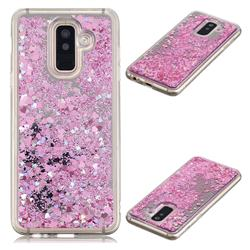Glitter Sand Mirror Quicksand Dynamic Liquid Star TPU Case for Samsung Galaxy A6 Plus (2018) - Cherry Pink