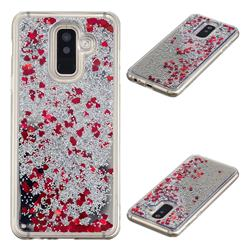 Glitter Sand Mirror Quicksand Dynamic Liquid Star TPU Case for Samsung Galaxy A6 Plus (2018) - Red