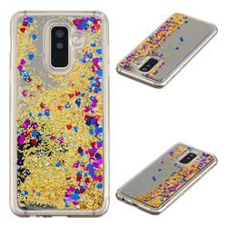 Glitter Sand Mirror Quicksand Dynamic Liquid Star TPU Case for Samsung Galaxy A6 Plus (2018) - Yellow