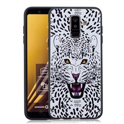 Snow Leopard 3D Embossed Relief Black Soft Back Cover for Samsung Galaxy A6 Plus (2018)