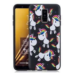 Rainbow Unicorn 3D Embossed Relief Black Soft Back Cover for Samsung Galaxy A6+ (2018)
