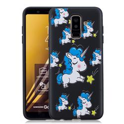 Blue Unicorn 3D Embossed Relief Black Soft Back Cover for Samsung Galaxy A6+ (2018)