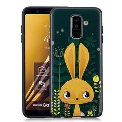 Cute Rabbit 3D Embossed Relief Black Soft Back Cover for Samsung Galaxy A6+ (2018)