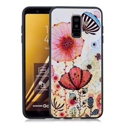 Pink Flower 3D Embossed Relief Black Soft Back Cover for Samsung Galaxy A6+ (2018)
