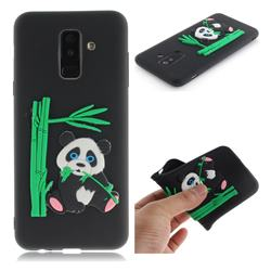 Panda Eating Bamboo Soft 3D Silicone Case for Samsung Galaxy A6 Plus (2018) - Black