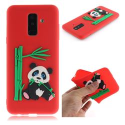 Panda Eating Bamboo Soft 3D Silicone Case for Samsung Galaxy A6+ (2018) - Red