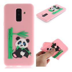 Panda Eating Bamboo Soft 3D Silicone Case for Samsung Galaxy A6 Plus (2018) - Pink