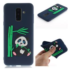 Panda Eating Bamboo Soft 3D Silicone Case for Samsung Galaxy A6 Plus (2018) - Dark Blue
