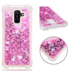Dynamic Liquid Glitter Sand Quicksand TPU Case for Samsung Galaxy A6 Plus (2018) - Pink Love Heart