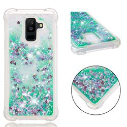 Dynamic Liquid Glitter Sand Quicksand TPU Case for Samsung Galaxy A6+ (2018) - Green Love Heart