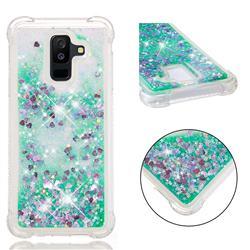 Dynamic Liquid Glitter Sand Quicksand TPU Case for Samsung Galaxy A6 Plus (2018) - Green Love Heart
