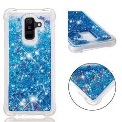 Dynamic Liquid Glitter Sand Quicksand TPU Case for Samsung Galaxy A6 Plus (2018) - Blue Love Heart