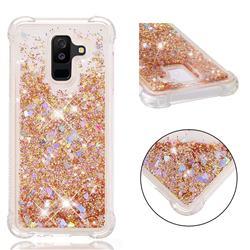 Dynamic Liquid Glitter Sand Quicksand Star TPU Case for Samsung Galaxy A6 Plus (2018) - Diamond Gold