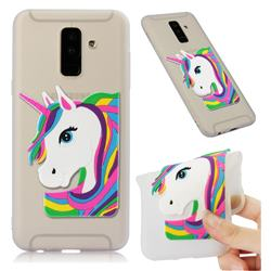 Rainbow Unicorn Soft 3D Silicone Case for Samsung Galaxy A6 Plus (2018) - Translucent White