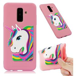 Rainbow Unicorn Soft 3D Silicone Case for Samsung Galaxy A6 Plus (2018) - Pink
