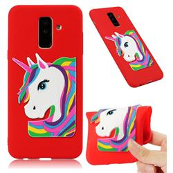 Rainbow Unicorn Soft 3D Silicone Case for Samsung Galaxy A6 Plus (2018) - Red
