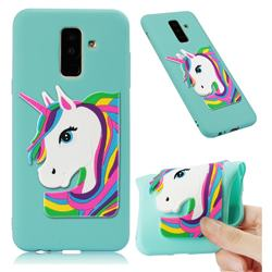 Rainbow Unicorn Soft 3D Silicone Case for Samsung Galaxy A6 Plus (2018) - Sky Blue