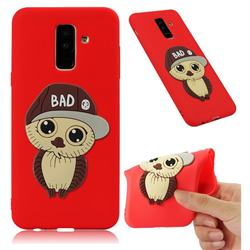 Bad Boy Owl Soft 3D Silicone Case for Samsung Galaxy A6 Plus (2018) - Red