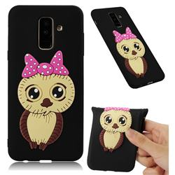 Bowknot Girl Owl Soft 3D Silicone Case for Samsung Galaxy A6 Plus (2018) - Black