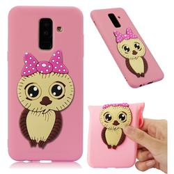 Bowknot Girl Owl Soft 3D Silicone Case for Samsung Galaxy A6 Plus (2018) - Pink
