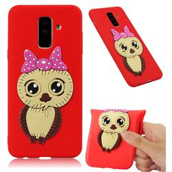 Bowknot Girl Owl Soft 3D Silicone Case for Samsung Galaxy A6 Plus (2018) - Red