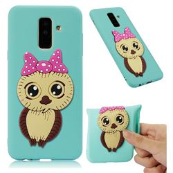 Bowknot Girl Owl Soft 3D Silicone Case for Samsung Galaxy A6 Plus (2018) - Sky Blue