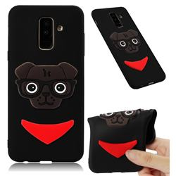 Glasses Dog Soft 3D Silicone Case for Samsung Galaxy A6 Plus (2018) - Black