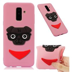 Glasses Dog Soft 3D Silicone Case for Samsung Galaxy A6 Plus (2018) - Pink
